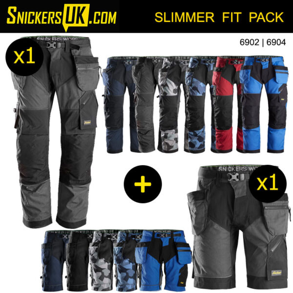 new season genuine shoes cute cheap Snickers FlexiWork Holster Pocket Trousers & Shorts Pack | 1 x 6902  Trousers + 1 x 6904 Shorts