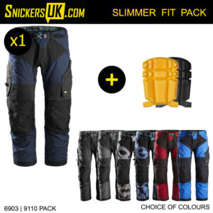 Snickers FlexiWork Trousers Pack A | 6903 Trousers | 9110 Pads | 9716 Hammer Loop